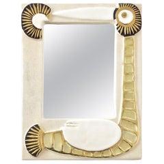 Mithé Espelt French Ceramic Mirror Bird Motif Cream and Gold Glaze