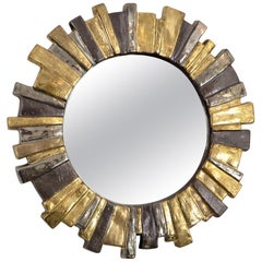 Francois Lembo French Glazed Gold Silver Gray Ceramic Sunburst Mirror