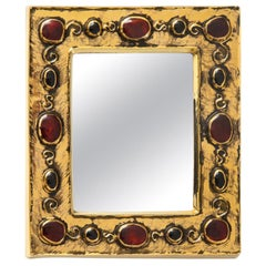Francois Lembo Mirror, Ceramic, Gold and Red, Jeweled, Signed