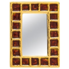 Francois Lembo Mirror, Ceramic, Gold and Red, Signed