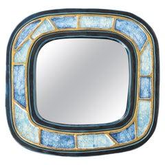 Mithé Espelt Mirror, Ceramic, Gold, Blue Fused Glass