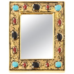 Francois Lembo Mirror, Ceramic, Gold, Turquoise, Black and Red, Jeweled, Signed