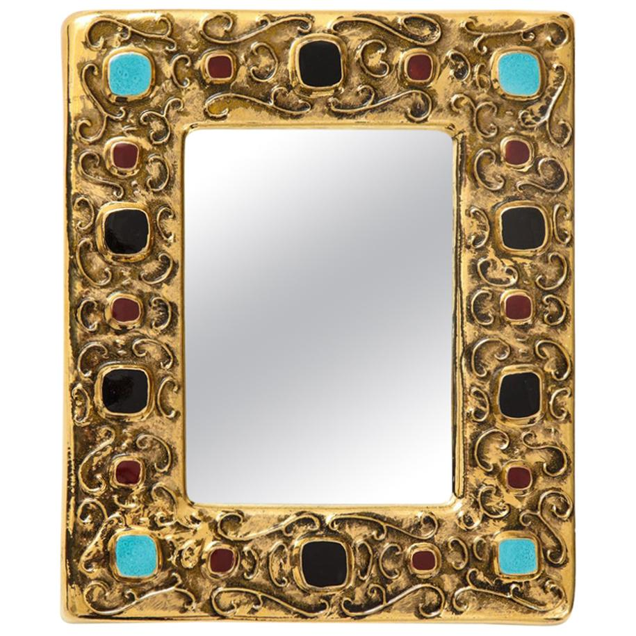 Francois Lembo Mirror, Ceramic, Gold, Turquoise, Red, Black, Jeweled, Signed