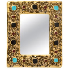 Francois Lembo Mirror, Ceramic, Gold, Turquoise, Red and Black, Jeweled, Signed