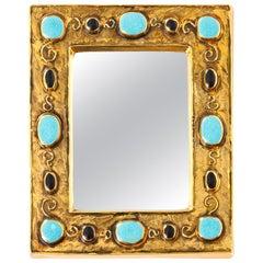Francois Lembo Mirror, Ceramic, Jeweled, Gold, Black, and Turquoise, Signed
