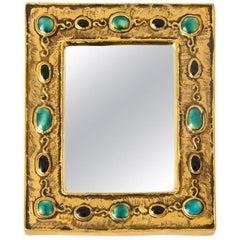 Francois Lembo Mirror, Ceramic, Jeweled, Gold, Jade and Black, Signed