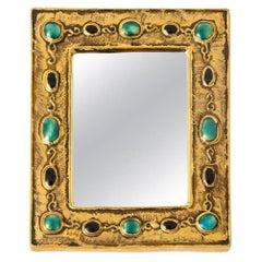 Francois Lembo Mirror, Ceramic, Jeweled, Gold, Jade, Black, Signed