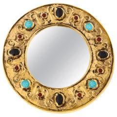 François Lembo Mirror, Ceramic, Jeweled, Gold, Turquoise, Black, Ruby, Signed
