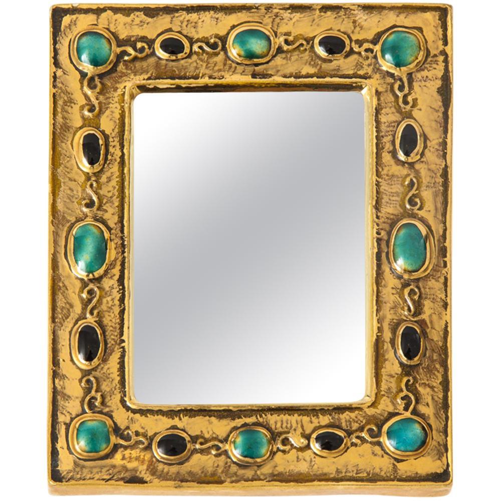 Francois Lembo Mirror, Ceramic, Jeweled, Jade, Gold, Black, Signed