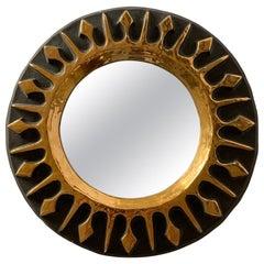 Mithé Espelt Round Gilt Ceramic Sunburst Mirror