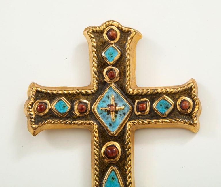 Mid-Century Modern Francois Lembo Signed Ceramic Jeweled Cross, France For Sale