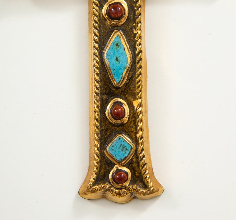 French Francois Lembo Signed Ceramic Jeweled Cross, France For Sale