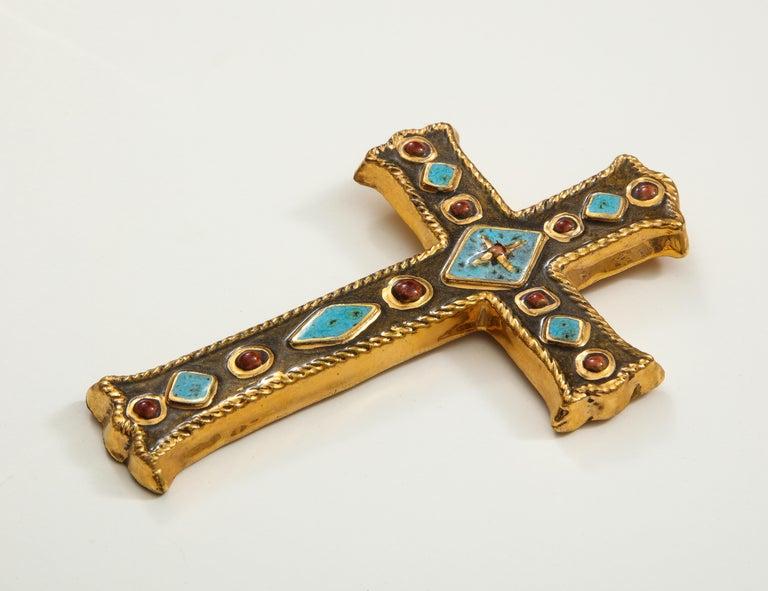 Francois Lembo Signed Ceramic Jeweled Cross, France For Sale 1