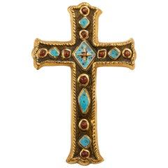 Francois Lembo Signed Ceramic Jeweled Cross, France