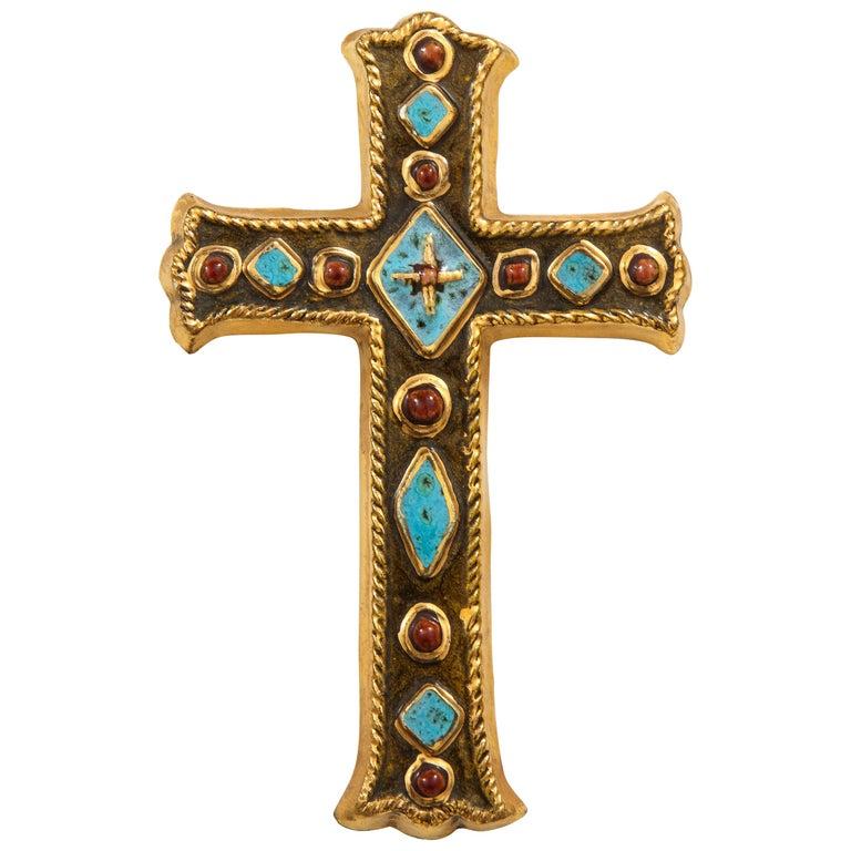 Francois Lembo Signed Ceramic Jeweled Cross, France For Sale