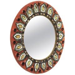 François Lembo Vallauris Ceramic Round Mirror with Foliate Floral Design