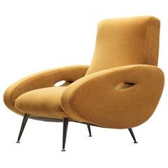 François Letourneur Lounge Chair in Reupholstered in Yellow Velvet Upholstery