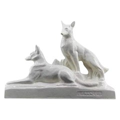 François Levallois, Crackle Glaze Ceramic Couple of German Shepherds