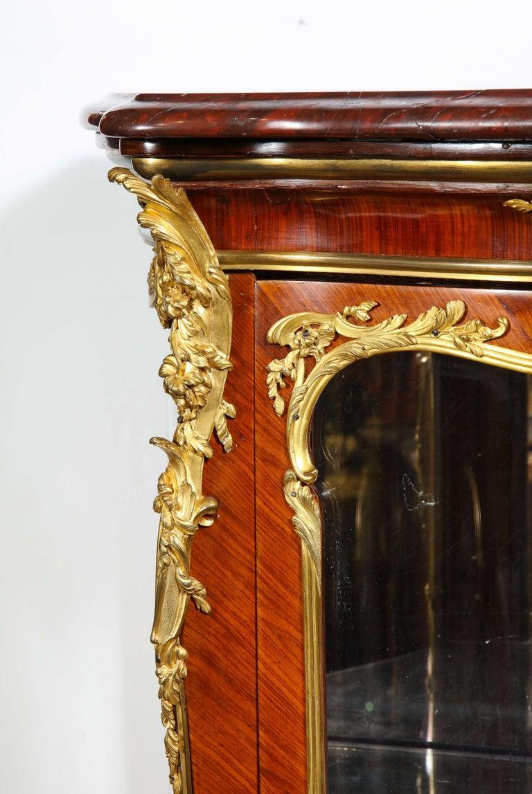 Francois Linke, an Exceptional French Ormolu-Mounted Kingwood Vitrine Cabinet For Sale 1