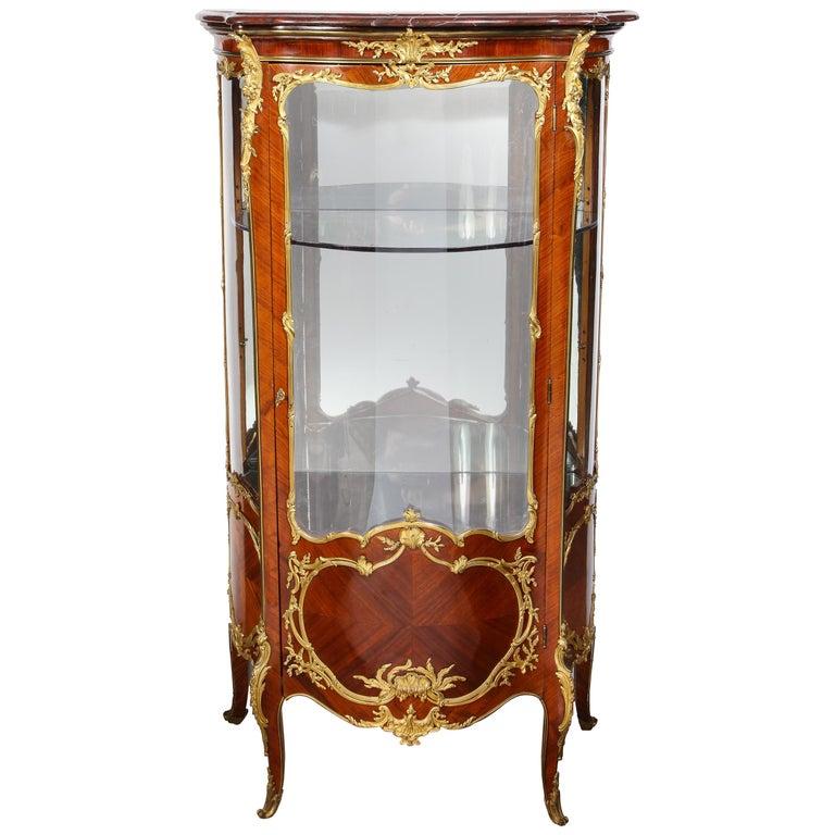 Francois Linke, an Exceptional French Ormolu-Mounted Kingwood Vitrine Cabinet For Sale