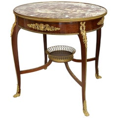 Francois Linke Center Table with Bronze Basket and Mounts, France, circa 1880