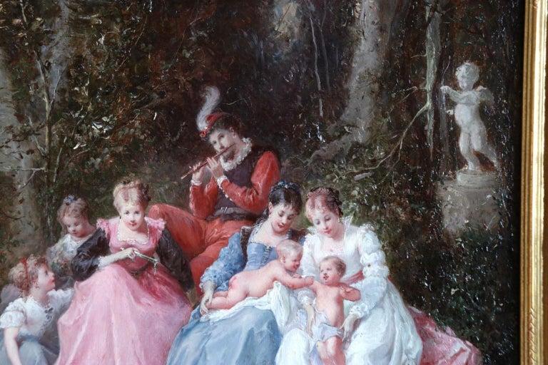 Un dimanche en forêt - 19th Century Oil, Figures in a Forest by Lanfant de Metz For Sale 6