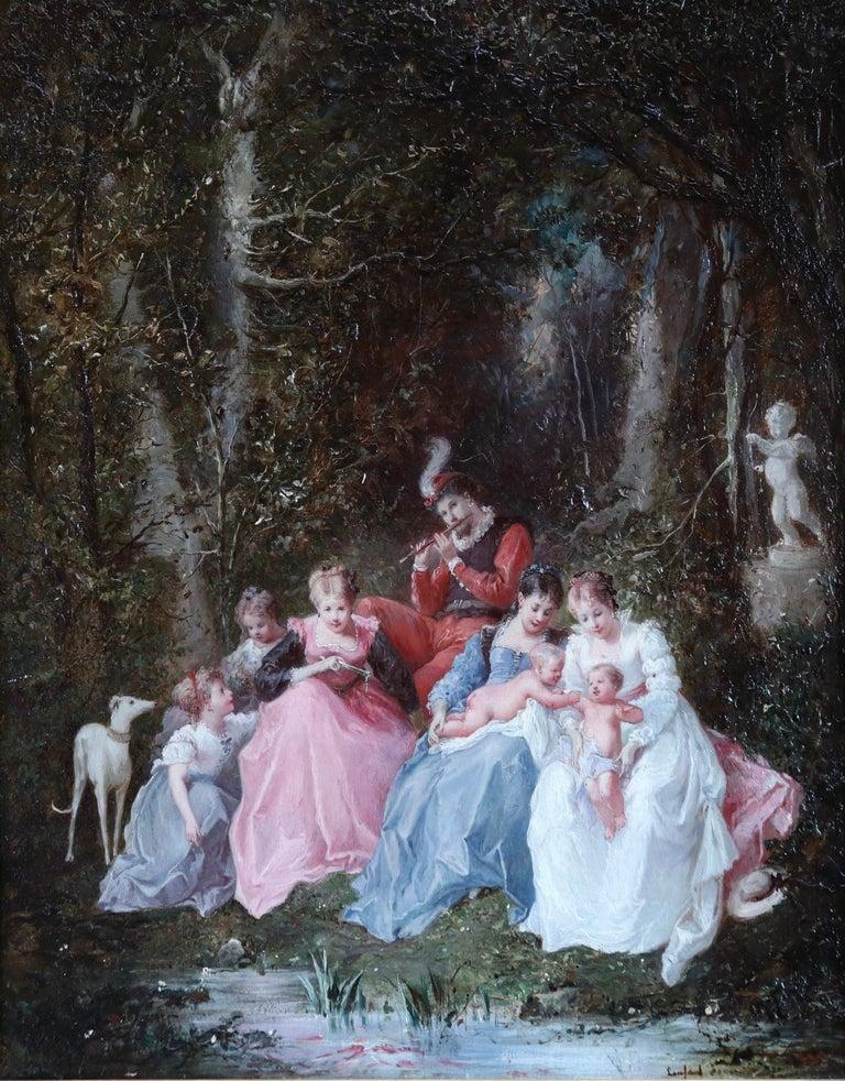 Un dimanche en forêt - 19th Century Oil, Figures in a Forest by Lanfant de Metz - Painting by Francois Louis Lanfant de Metz