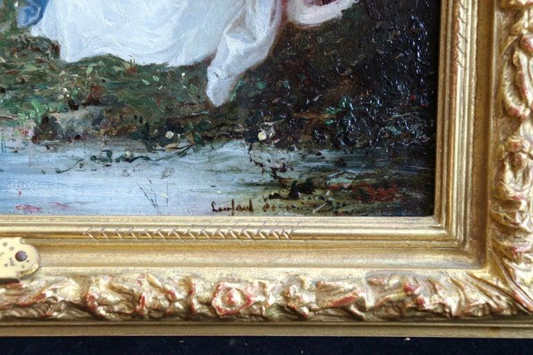 Un dimanche en forêt - 19th Century Oil, Figures in a Forest by Lanfant de Metz For Sale 2
