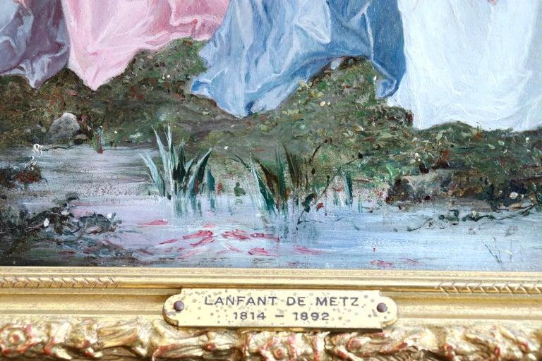 Un dimanche en forêt - 19th Century Oil, Figures in a Forest by Lanfant de Metz For Sale 3