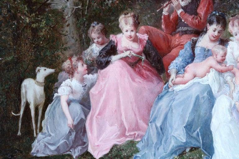Un dimanche en forêt - 19th Century Oil, Figures in a Forest by Lanfant de Metz For Sale 4
