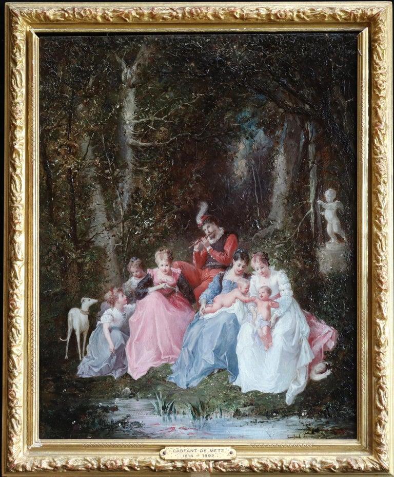 Francois Louis Lanfant de Metz Landscape Painting - Un dimanche en forêt - 19th Century Oil, Figures in a Forest by Lanfant de Metz