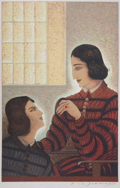 Conversation - Original Woodcut Print