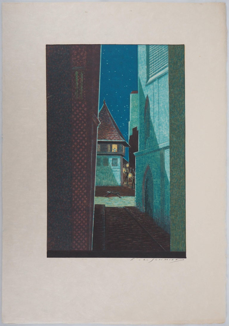 The Alley in the Night - Original Woodcut Print - Black Figurative Print by François-Louis Schmied