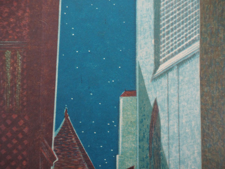 The Alley in the Night - Original Woodcut Print For Sale 2