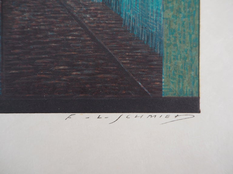 The Alley in the Night - Original Woodcut Print For Sale 3