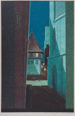 The Alley in the Night - Original Woodcut Print