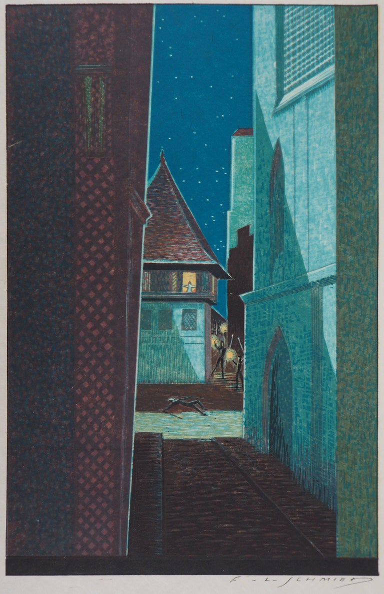 François-Louis Schmied Figurative Print - The Alley in the Night - Original Woodcut Print