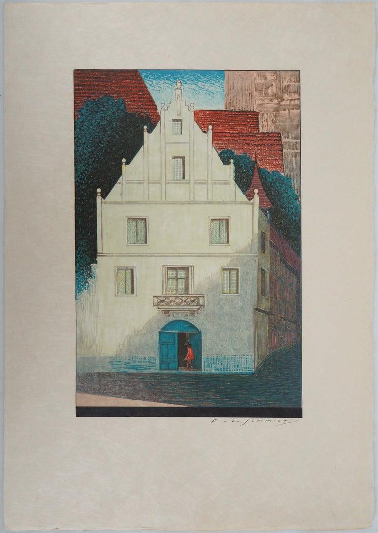 The White Villa - Original Woodcut Print - Gray Figurative Print by François-Louis Schmied