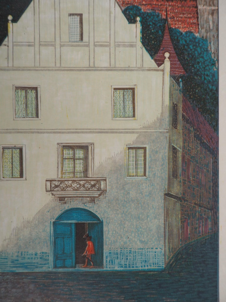 François-Louis SCHMIED (1873-1941) The White Villa, 1938  Original Woodcut Print Signed with the stamp of the artist On Japan paper 35 x 24 cm (c. 13.8 x 9.5 inch)  Excellent condition