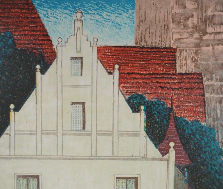 The White Villa - Original Woodcut Print For Sale 1
