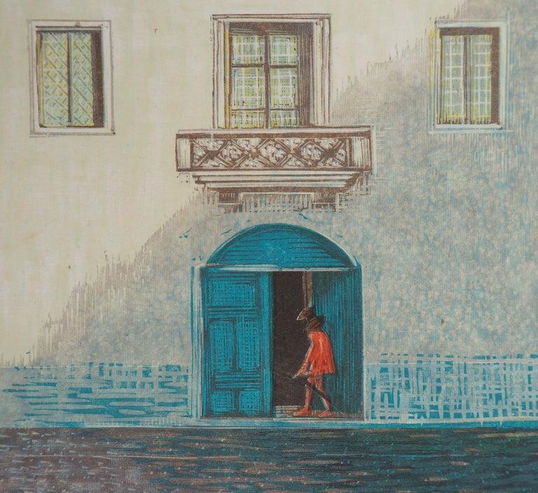 The White Villa - Original Woodcut Print For Sale 2
