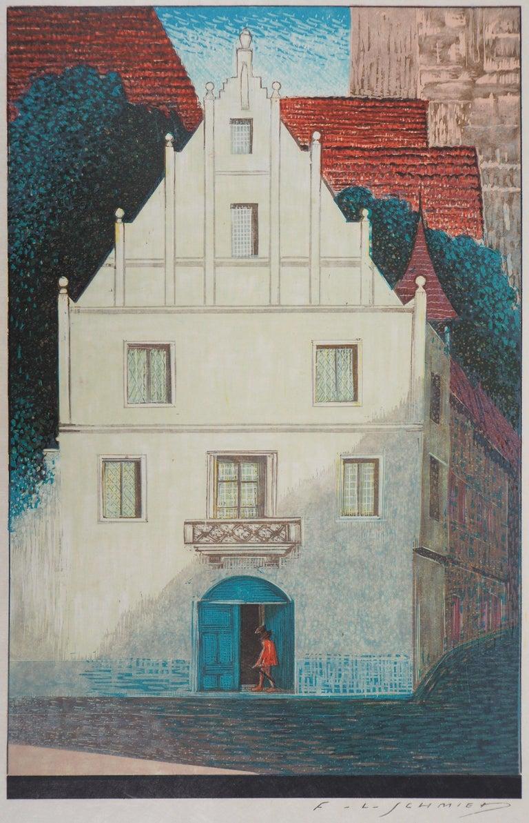 François-Louis Schmied Figurative Print - The White Villa - Original Woodcut Print