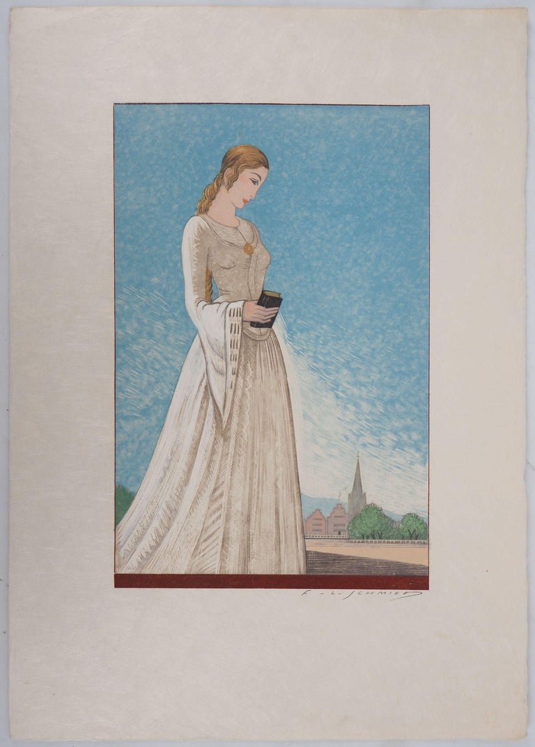 The Young Lady - Original Woodcut Print - Gray Figurative Print by François-Louis Schmied
