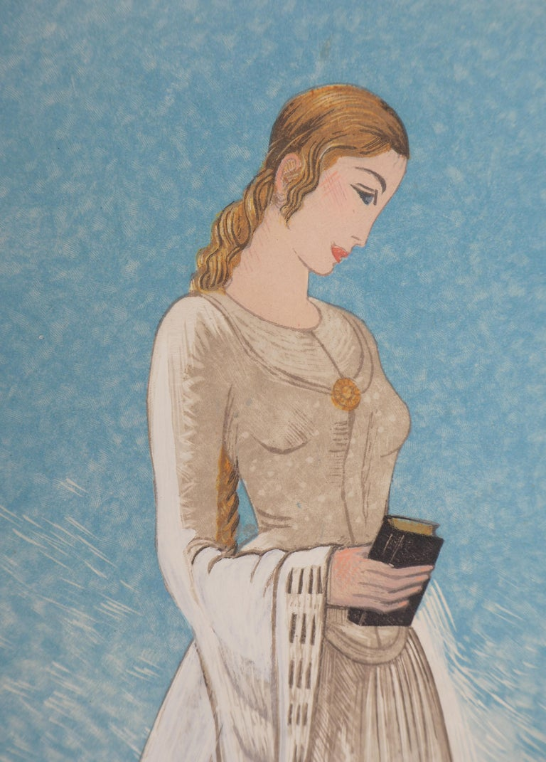 The Young Lady - Original Woodcut Print For Sale 1