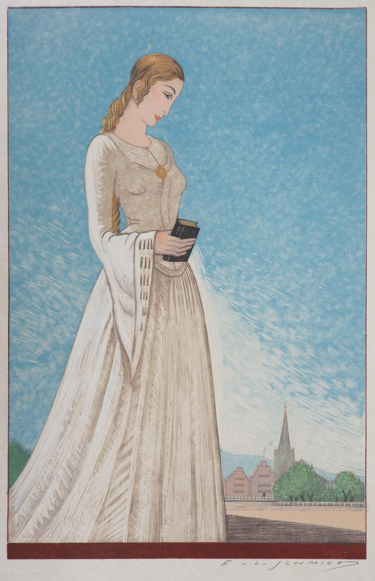 François-Louis Schmied Figurative Print - The Young Lady - Original Woodcut Print