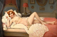 La Sieste - Impressionist Oil, Nude Figure in Interior by Francois Martin-Kavel