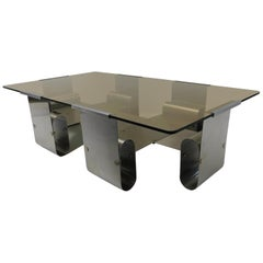 Francois Monnet 1970s Curved Steel and Smoked Glass Coffee Table, France