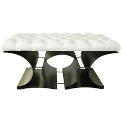 François Monnet Bench Stainless Steel and Tufted Faux Leather