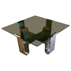 Francois Monnet Cocktail or Side Table with Smoked Glass, 1970