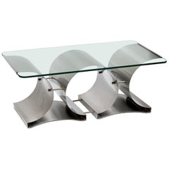 Francois Monnet Mid-Century Modern Glass and Steel French Coffee Table, 1970s